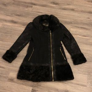 Guess Ddsigner Faux Fur Wool Coat